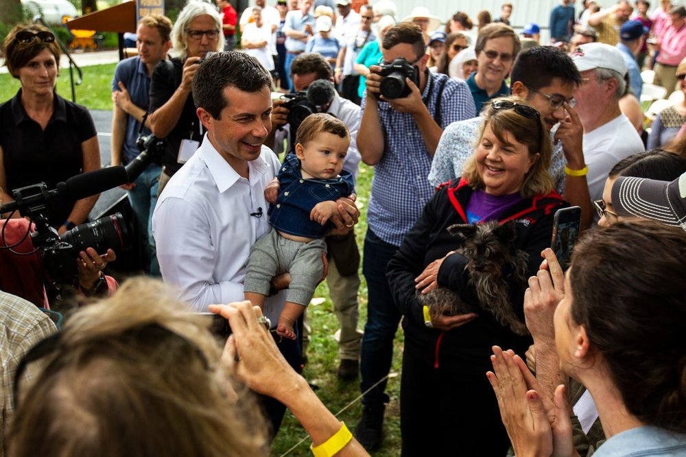 Pete Buttigieg in Tipton, Iowa on Aug 14, 2019. Photo by Joseph Cress  (TWITTER LINK)