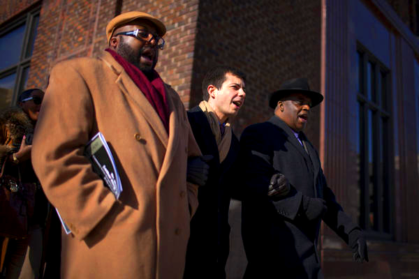 Pete Buttigieg marches with South Bend faith leaders on Martin Luther King day 2013