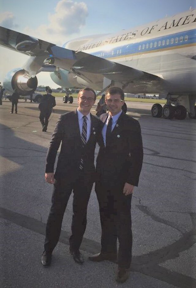By Airforce One with Chasten when Obama visited South Bend.