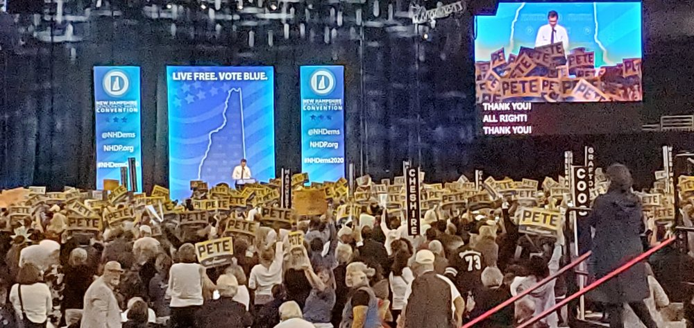 Photo posted by @BethAnnDahan. 'Mayor Pete has BY FAR the biggest cheering section and most enthusiasm from the crowd at the NH Dems Convention!""