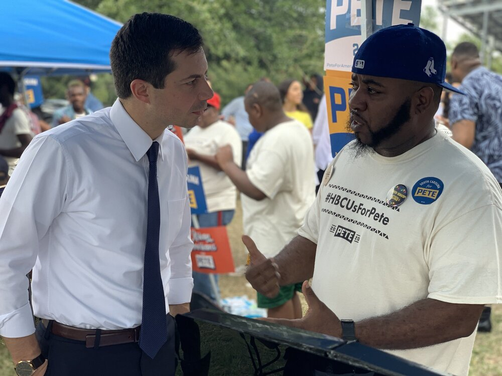 Pete Buttigieg attends a tailgate party at Allen University in Columbia, SC, Oct 26, 2019. Photo posted by @JustinGomezABC