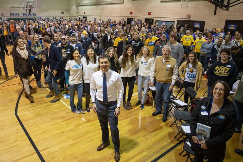 Pete with 300 organizers being trained to caucus. Iowa, Nov 3, 2019.