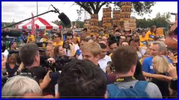 VIDEO: Pete making his way into the Steak Fry with a marching band from South Bend. (Links to Twitter)