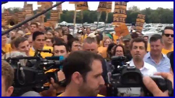 VIDEO: Another view of Pete entering with the marching band. This one shows more of the band behind him.