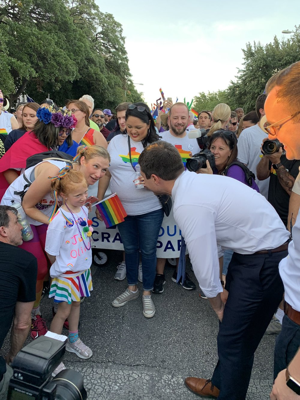 Pete Buttigieg at the Austin Pride Parade, Posted on Twitter by Ninasophia81
