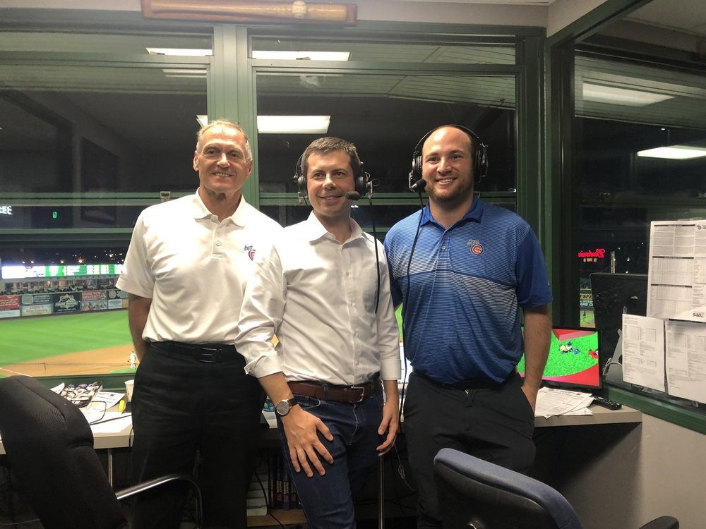Pete Buttigieg attended an Iowa Cubs game and did a little interview in the booth. Posted on Twitter  (LINK) .  Aug 21, 2019