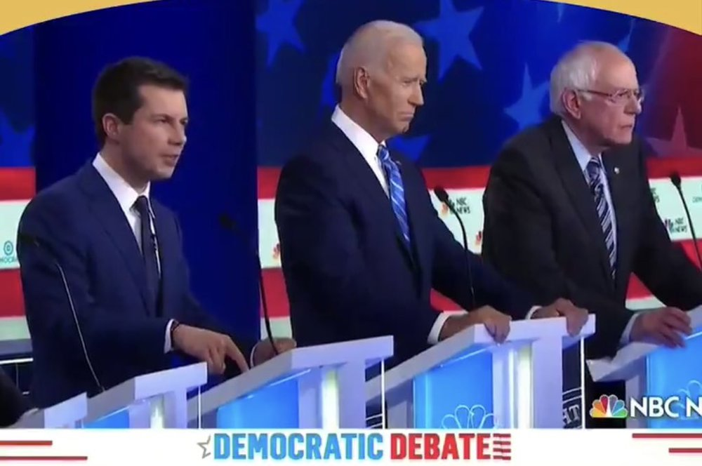 With Joe Biden and Bernie Sanders at the first Democratic debates