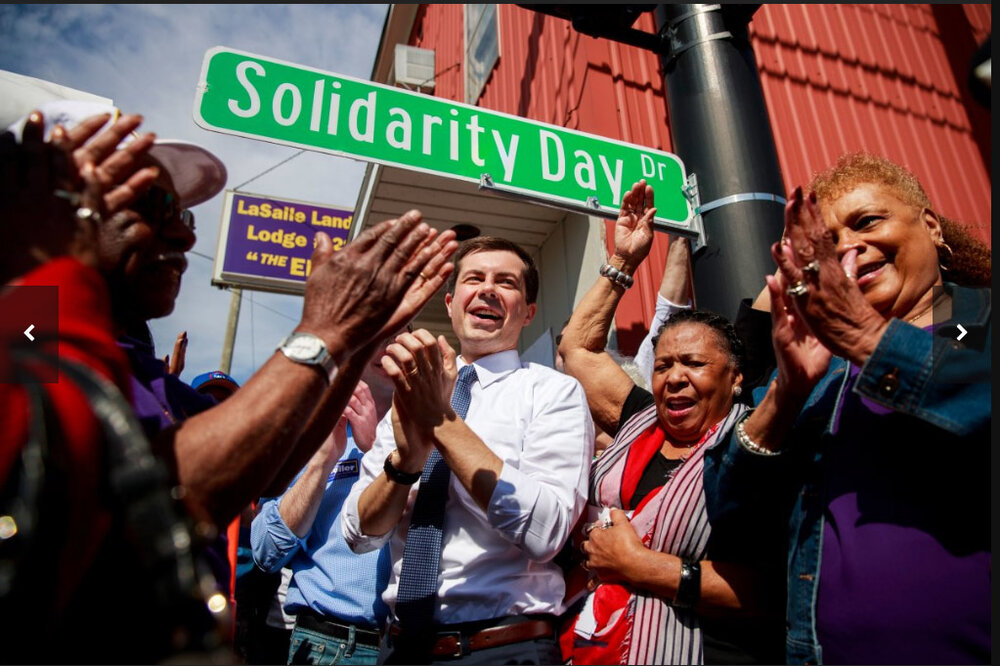 April 22, 2019 | South Bend, Indiana | Pete Buttigieg is seen attending the Dyngus Day Drive Street renaming event at the South Bend Elks Lodge.  (JEREMY HOGAN/SOPA IMAGES/LIGHTROCKET/GETTY IMAGES)