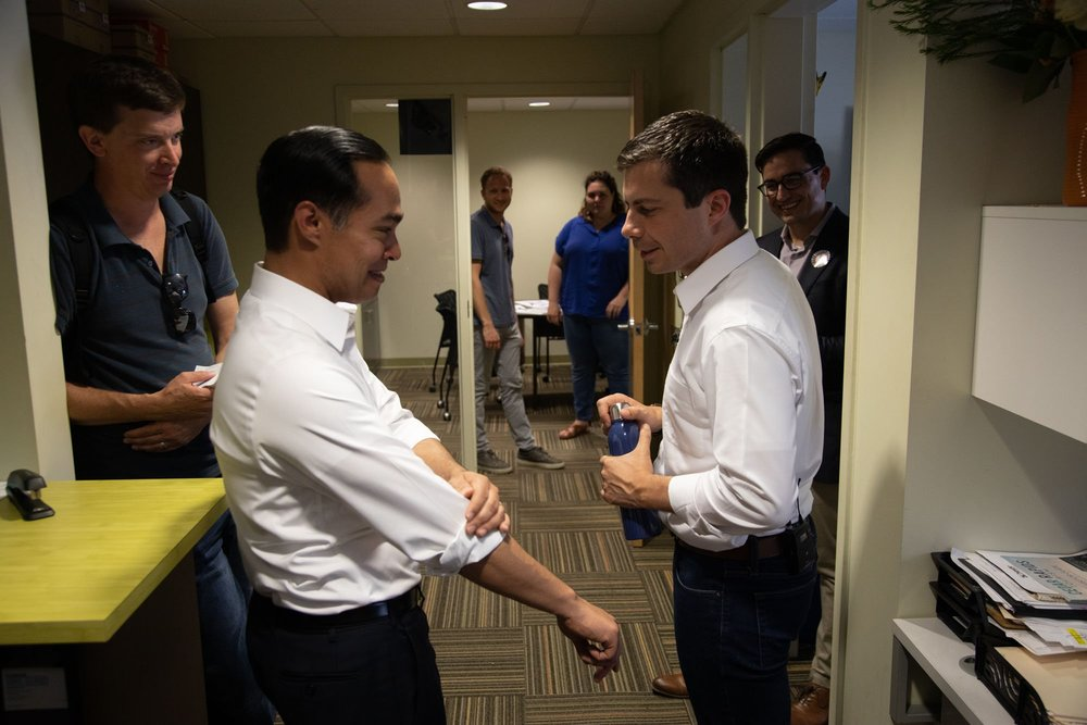 Pete Buttigieg and Julian Castro behind the scenes. Posted on Twitter.